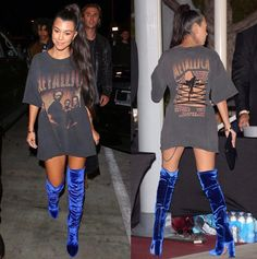Kourtney Kardashian. Thigh high boots. Blue velvet boots. Band tshirt. Tshirt dress. Long high sleek ponytail.