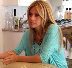 Dina Manzo's Turquoise Blue Tee Shirt | Big Blonde Hair : Big Blonde Hair DETAILS: http://www.bigblondehair.com/real-housewives/rhonj/dina-manzos-turquoise-blue-tee-shirt/