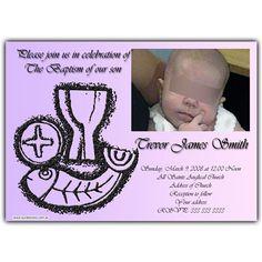 Baptism invitation card. Tarjeta invitación para bautismo.