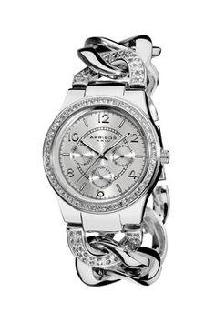 Womens Quartz Multifunction Crystal Accented Twist Chain Watch