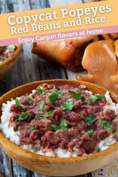 Make Popeyes Red Beans and Rice at home with this easy copycat recipe and video. Treat your family to a delicious homemade New Orleans Cajun dish for dinner. #redbeansandrice #cajun #familydinner #budgetmeals #budgetfriendly #southernfood #copycat #copycatrecipes Copykat Recipes, Cajun Recipes, Rice Recipes, Pasta Recipes, Cooking Recipes, Cajun Food, Easy Cooking, Recipies, Beans Recipes