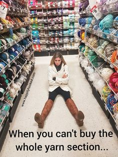 Except I have graduated from local craft store yarn to local yarn shop yarn 🐑🐑🐑 Knitting Quotes, Knitting Humor, Crochet Humor, Knitting Blogs, Knitting Yarn, Funny Crochet, Haha, Yarn Storage, Yarn Bombing