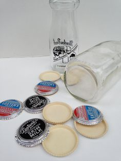 Vintage collectible glass milk bottles by LaDolfina on Etsy, $25.00