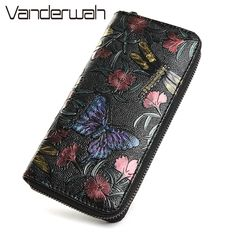 vintage dragonfly women wallets flowers prints female leather purse and wallet zipper bag fashion clutch long ladies coin purse *** AliExpress Affiliate's Pin.  Click the image to view the details