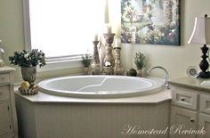 Homestead Revival: The Farmhouse Master Bath.must see all the pictures of this bathroom! Jacuzzi Tub Decor, Corner Jacuzzi Tub, Jacuzzi Bathtub, Corner Tub, Bathtubs, Bathtub Remodel, Garden Tub, Tuscan Decorating, Decorating Ideas