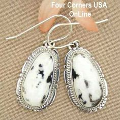 Four Corners USA Online - White Buffalo Turquoise Sterling Silver Earrings by Native American Navajo Kathy Yazzie NAER-1420, $126.00 (http://stores.fourcornersusaonline.com/white-buffalo-turquoise-sterling-silver-earrings-by-native-american-navajo-kathy-yazzie-naer-1420/)