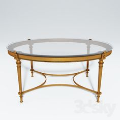 French Brass Round Coffee Table With Glass Top
