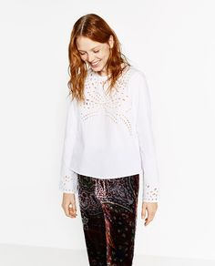 Image 2 of EMBROIDERED POPLIN TOP from Zara