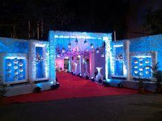Madhur caterers ka wel come gate Wedding Backdrop Design, Wedding Stage Design, Wedding Hall Decorations, Marriage Decoration, Tent Decorations, Wedding Walkway, Wedding Gate, Wedding Entrance, Reception Stage Decor