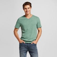 Men's V-Neck T-Shirt Green Xxl - Mossimo Supply Co.