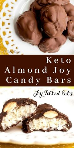 Keto Almond Joy Candy Bars - Low Carb Keto THM S Sugar-Free Dairy-Free Gluten-Free Grain-Free - You won't miss this candy bar favorite any longer. With my healthy version of the classic Almond Joy candies you can indulge without guilt. Low Carb Candy, Keto Candy, Low Carb Sweets, Low Carb Desserts, Low Carb Recipes, Dairy Free Keto Recipes, Eggless Desserts, Ketogenic Recipes, Keto Fat