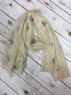 Cream Scarf With American Flag Print Crosses