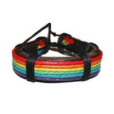Rainbow Adjustable Leather Wristlet - Gay and Lesbian LGBT Pride Bracelet Price: $11.89 http://www.shareasale.com/m-pr.cfm?merchantID=36679&userID=856296&productID=545980085