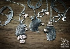 Handmade, upcycled, sterling silver, hedgehog necklace - The Hairy Growler, handcrafted recycled wearable art