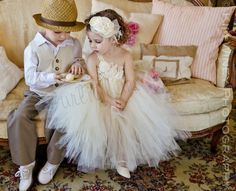 "Ivory Vintage flower girl tutu dress Flower girl by Gurliglam, $110.00 Not sure if it's ""Beauty and the Beast,"" but I like it!"