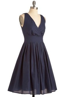 Glamour Power to You Dress in Navy, #ModCloth -- nope, this one for graduation with some nude flats and a belt