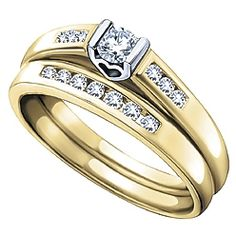 Ben Moss Jewellers 0.29 Carat TW, 10k Two-Tone Gold Diamond Engagement Ring Set