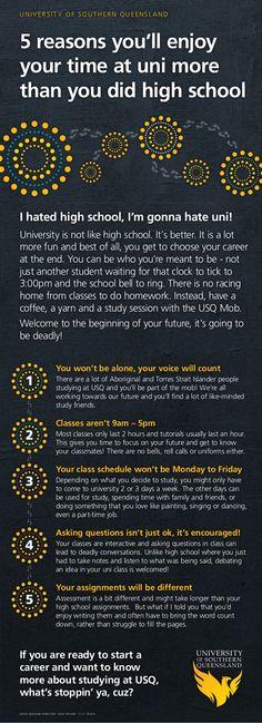 5 reasons you'll like uni more than high school! #usqstudy #futurephoenixes #youcandothis
