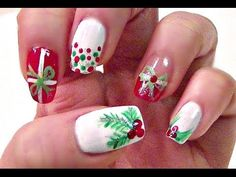 Christmas Nails On Short Nails - Easy Christmas Holly Nail Tutorial Short Nails - Watch  easy christmas holly nail tutorial short nails 60 nail art designs ideas manicurefantasy 49 easy winter and christmas nail ideas 20 awesome hol. Christmas Tree Nail Art, Christmas Nail Polish, Cute Christmas Nails, Holiday Nail Art, Simple Nail Art Designs, Short Nail Designs, Candy Cane Nails, Gold Glitter Nails, Christmas Nail Art Designs