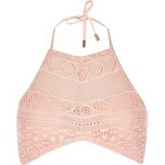 River Island Pink lace crochet bikini top ($27) ❤ liked on Polyvore featuring swimwear, bikinis, bikini tops, bikini, crop top, pink, swimwear / beachwear, women, river island bikini and bikini swimwear