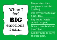 help kids manage big emotions like anger, frustration, or jealousy by hanging this free printable poster in the playroom or classroom - tips from the book Siblings Without Rivalry