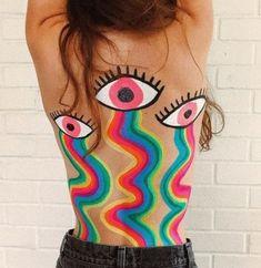 Rainbow Bleeding Eyes – Back Body Paint The post Rainbow Bleeding Eyes – Back Body Paint appeared first on Woman Casual - Tattoos And Body Art Dark Fantasy Art, Leg Painting, Trippy Painting, Summer Painting, Leg Art, Back Art, Art Hoe, Body Art Tattoos, Art Inspo