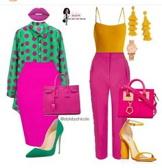 Outfit on the right is popping- love the yellow and pink combo.