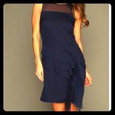 NEW Jessica Simpson dress - Size 6 NWT Jessica Simpson Dress. Peacoat Navy Blue Sheer Organza Overlay Cocktail Dress. Vey classy! Size 8 Jessica Simpson Dresses Midi