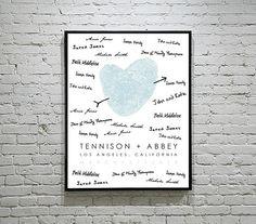 Wedding Guest Book Alternative - 11x14 - Your Fingerprint Custom Wedding Poster  -  Wedding Gift