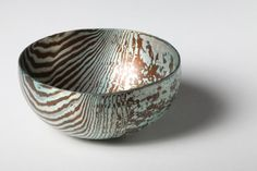 By Alistair McCallum. Hand raised Mokume Gane Bowl made from 48 layers of silver and copper.