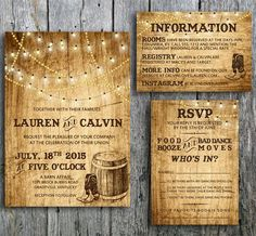 Love this Country Western themed wedding invitation set! Rustic wedding…