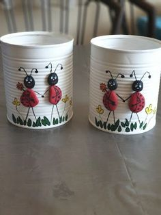 Stone Crafts, Rock Crafts, Diy Home Crafts, Easy Diy Crafts, Creative Crafts, Garden Crafts, Aluminum Can Crafts, Tin Can Crafts, Jar Crafts