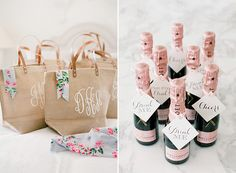 Monogrammed tote bags and mini champagne bottles make for perfect bridal shower party favors. Or for bachelorette weekend Wedding Party Shirts, Gifts For Wedding Party, Party Gifts, Wedding Favors, Our Wedding, Wedding Bells, Wedding Parties, Wedding Ideas, Bridal Gifts