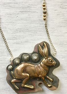 Perfect for the first of the month or any day you like! Brass bunny on sterling Upcycled Vintage, Stones And Crystals, Handcrafted Jewelry, Bridal Jewelry, Pocket Watch, Vintage Jewelry, Bunny, Jewelry Making, Brass