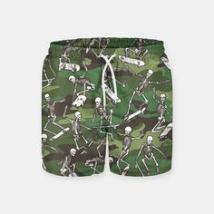 Grim Ripper Skater Camo WOODLAND GREEN Swim Shorts, Live Heroes
