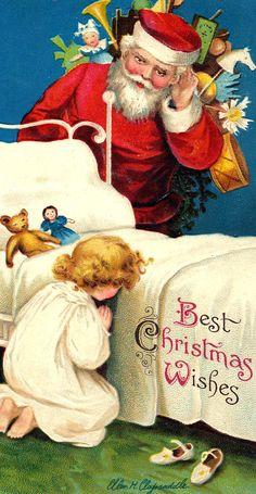 Vintage:  Santa listening to child's prayers