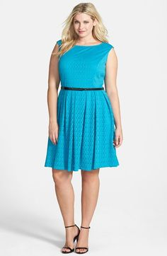 London+Times+Cap+Sleeve+Eyelet+Jersey+Fit+&+Flare+Dress+(Plus+Size)+available+at+#Nordstrom