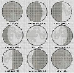 Moon Phases Cross Stitch Pattern Simple & Fun PDF