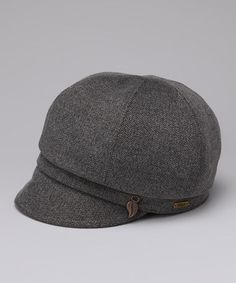 Gray Tweed Village Newsboy Hat by DeLux