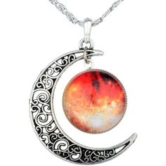Yantu Orange Women's Crescent Moon Galactic Universe Cabochon Pendant... (29 BRL) ❤ liked on Polyvore featuring jewelry, necklaces, accessories, planet necklace, cosmic jewelry, orange jewelry, cabochon necklace and christmas jewelry