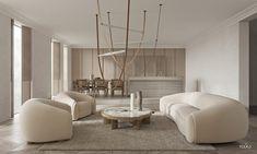 Modern home interior with unique neutral colour scheme. Featuring unique furniture, designer lighting, chic window shutters, and textured decor ideas.