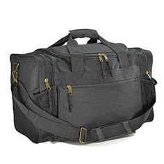 "DALIX 17"" Duffle Travel Bag Front Mesh Pockets in Black"