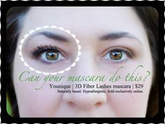 Can your mascara do this?? Younique 3D Fiber Lashes mascara - up to 300% increase in length and volume!!! www.mymusthavemascara.com
