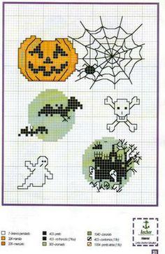 spiderweb Halloween cross stitch pumpkin spider webs bats skull cross bones ghost haunted house