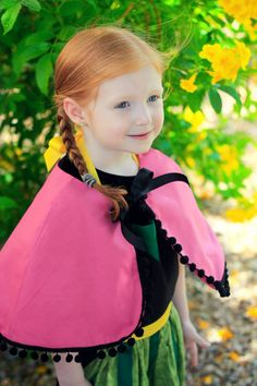 FROZEN Anna CAPE Capelet Cloak. Disney Princess inspired. Child Toddler Baby Girl Dress up Costume Birthday Party Fits 12 months - Girls 12