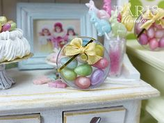 Colourful Candy Easter Eggs in Clear Round Gift by ParisMiniatures