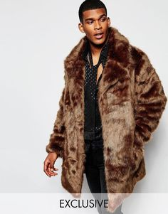 The New County Faux Fur Jacket in Brown S -Chest 36 - 38