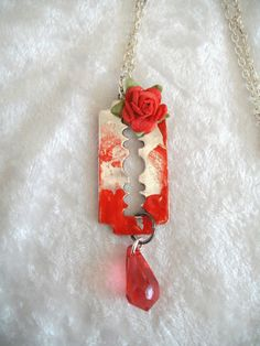 BLOOD SMEARED RAZOR BLADE NECKLACE+RED ROSE....Gothic,SteamPunk,Horror,Vampire #KaTErLiNaCrEaTiOnS #NecklacePendant