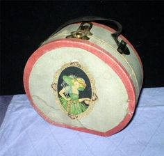 Antique DOLL SUITCASE HATBOX for BOUDOIR DOLLS Art Deco 30s Era Transogram Co.