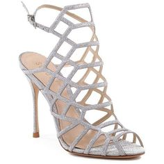 Schutz Silver Juliana Prada Caged High Heel - Women's (€170) ❤ liked on Polyvore featuring shoes, pumps, heels, silver, schutz, high heel shoes, silver heel shoes, silver shoes and caged high heel shoes
